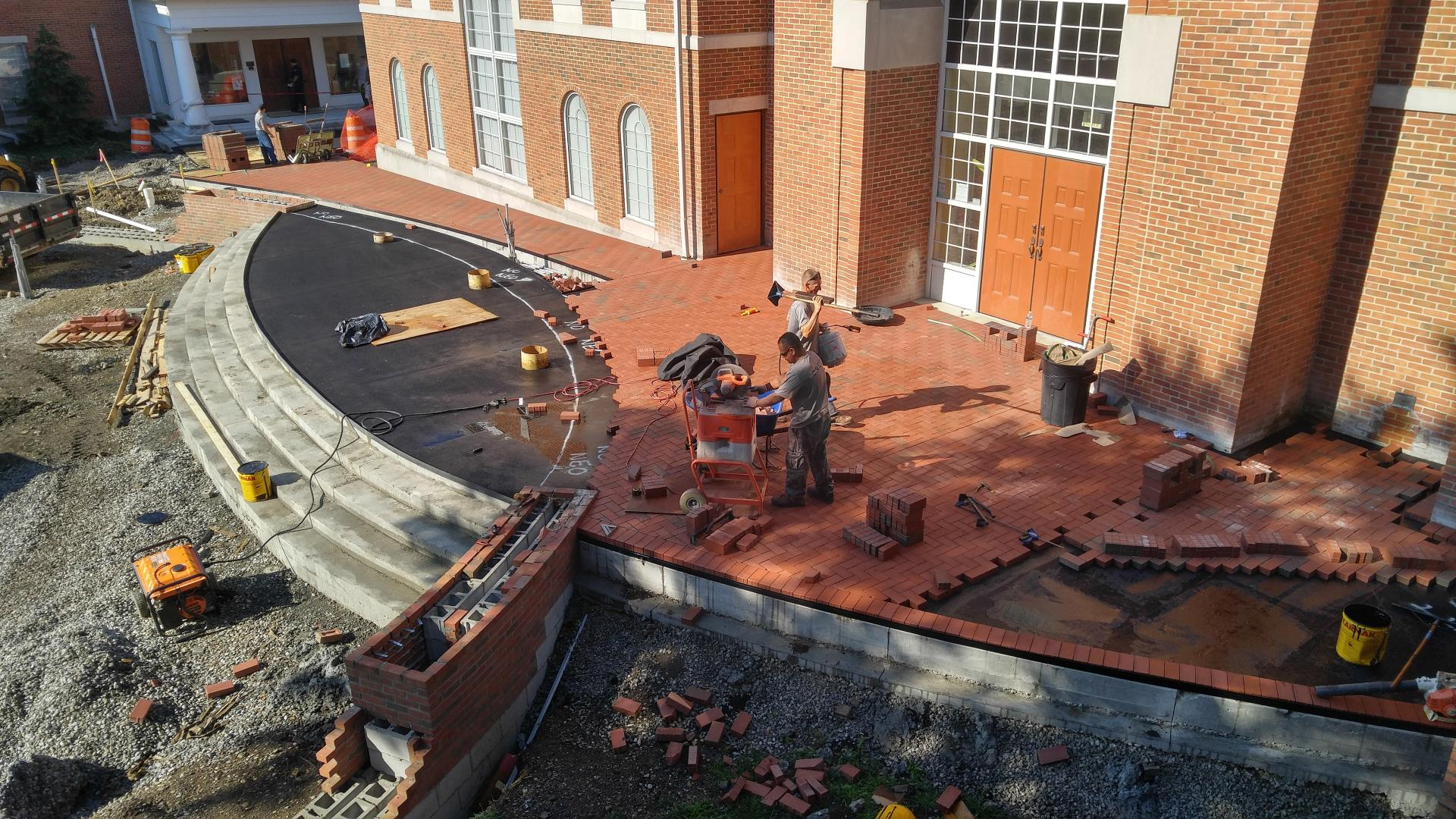 Bricklaying in front of City Hall continues.