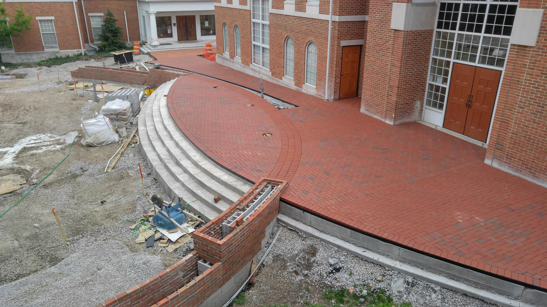 Brickwork in front of City Hall Entrance is complete.