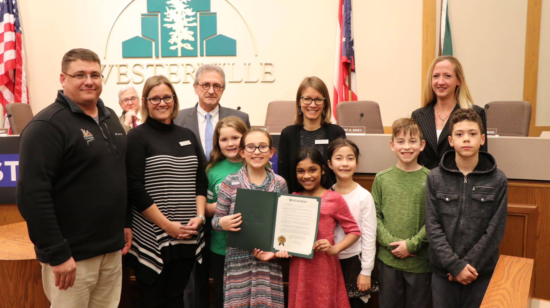Mike Reterer w./ Ohio Pollinator Habitat Initiative and Susie Smucker and Kate Mantenicks with Westerville City Schools accepted Proclamation