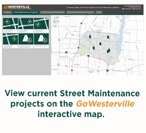 "Visit the GoWesterville interactive map and select ""Street Maintenance."""