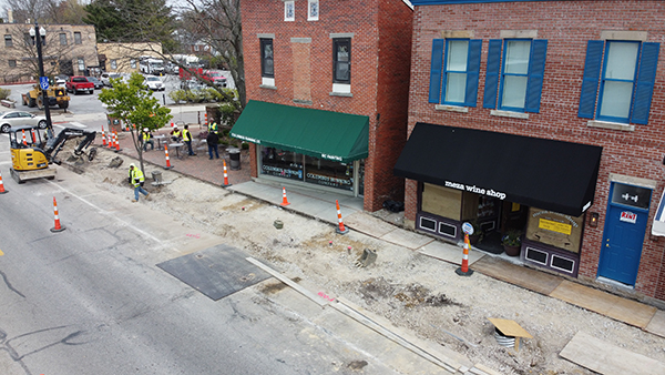 An aerial view of Uptown Improvements the week of April 22.