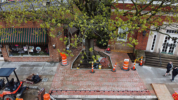An aerial view of Uptown Improvements the week of May 1.